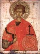 Икона. Великомученик Димитрий Солунский. Вторая четверть – середина XV века. Псков. Дерево (сосна) из двух частей, две сквозные врезные шпонки, ковчег, паволока, темпера. 87,8х66,8х3,6