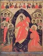 Икона. Сошествие во ад, с Деисусом и избранными святыми. Конец XIV –середина XV века. Псков. Дерево, две доски, две сквозные шпонки (поздние), паволока, темпера. 82х66х2,7